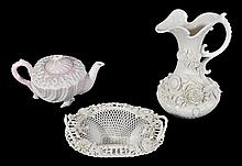 Three items of Belleek porcelain, comprising; a