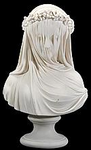 A Copeland parian porcelain bust of 'The Veiled