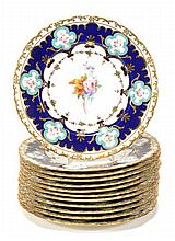Twelve Royal Crown Derby floral dessert plates