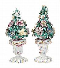 A pair of Bow models of flower-pots, modelled en