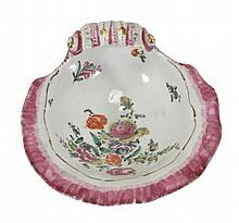 A Worcester polychrome shell-shaped dish, the well