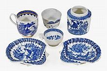 A pair of Caughley blue and white shell-dishes,