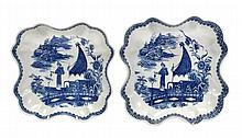 Two Caughley blue and white quatrefoil dishes in