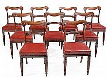 A set of nine William IV mahogany dining chairs,