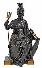 A French patinated bronze model of Minerva, late