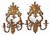 A pair of Continental gilt metal and mirrored