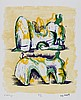 Henry Moore (1898-1986) - Two Reclining Figures in Yellow and Green (c.74)