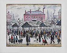 L.S. Lowry (1887-1976) - Market Scene in a Northern Town