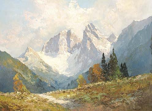 Hans Steiner (20th century) Alpine landscape Oil