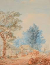 Jacob van Striy (1756-1815) - A Landscape with a Farmstead, Drover and Horse and Cart