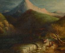 Italian School (late 18th century) - Figures in a mountainous landscape