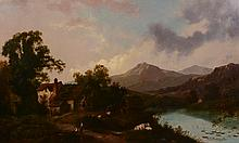 Attributed to Henry John Boddington (1811-1865) - An extensive mountain landscape, a mill with cattle and figures fishing in the foreground