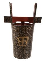 A Japanese Lacquer Sake Container in the form of a traditional