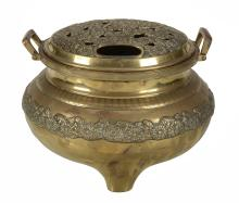 A Large Japanese Bronze Floor Censer, of typical bombe form raised on tripod...