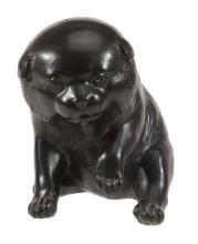 A Japanese Bronze Model of a Puppy, Meiji-Taisho Period