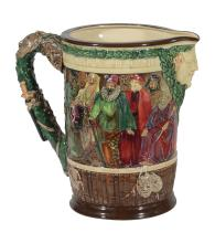 A Royal Doulton pottery The Shakespeare Jug, designed by Charles Noke, no