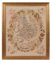 A Victorian silkwork map of England and Wales, the work of Jane Kelsey, 1849