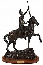 Clifton Ray Cheek , a patinated bronze equestrian group, 'Victory Cry'