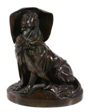 A Continental patinated bronze ink stand cast as a seated dog, circa 1880