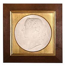 John Lawlor, , a sculpted plaster portrait relief of Miss Vandenhoff