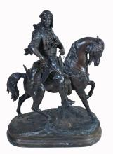 A patinated bronze equestrian group in the 19th century style, modern