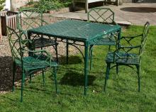 A suite of green painted aluminium garden furniture, late 20th century
