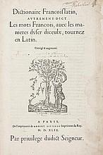 Estienne (Robert) Dictionaire Francoislatin,