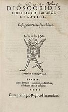Pedanius Dioscorides. Libro Octo Graece et Latine,