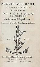 Medici (Lorenzo de) Poesie Volgari, first edition,