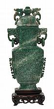 A Chinese mottled green and white jade censer and