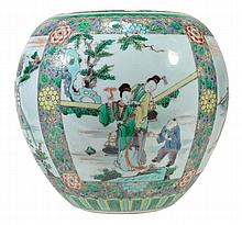 A Chinese famille verte fish bowl reserve panels