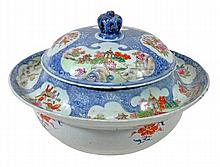 A famille rose tureen and cover of unusual form,