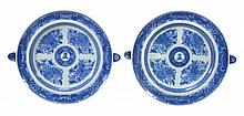 An unusual pair of armorial blue and white food