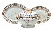 A Chinese Export armorial tureen, cover and two
