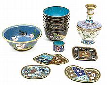 A group of thirteen Chinese cloisonnŽ pieces
