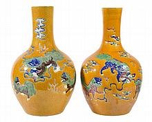 A pair of Chinese bottle vases, each with an ovoid