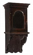 A rare small oak hooded wall clock case Anonymous