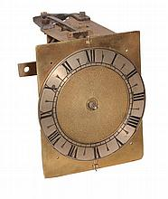 A rare small English hooded wall timepiece movement and dial, Unsigned