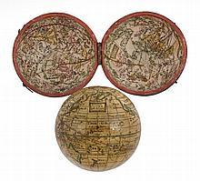 A fine English 2.75 inch pocket globe Attributed to George Adams junior...