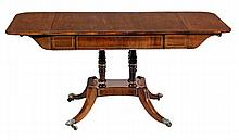 A Regency rosewood and brass strung sofa table,