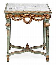 A green painted, parcel gilt and alabaster mounted