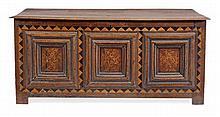 A Charles II panelled oak chest, circa