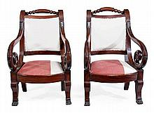 A pair of Continental mahogany armchairs, 19th
