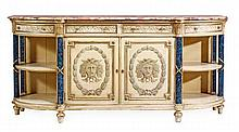 A cream painted, parcel gilt and marble mounted