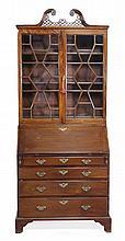 A George III mahogany bureau bookcase, circa 1790,