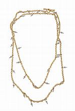 A diamond set longchain, the belcher link chain set along the line with...