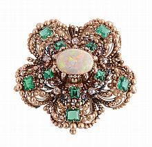 An early 19th century gold, opal, emerald and diamond cannetille work brooch