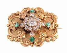 An early Victorian diamond and emerald brooch, circa 1850