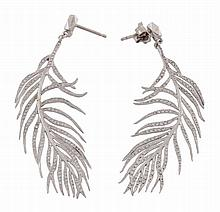 A pair of diamond set feather earrings, designed as an ostrich feather set...