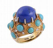 A lapis lazuli, turquoise and diamond set dress ring by Trio